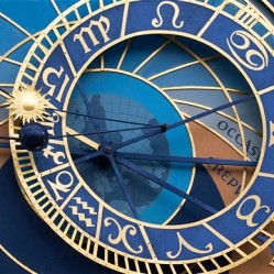 Detail of face of Astronomical Clock on town hall in Staromestske namesti or Old Town Square in Prague in Czech Republic